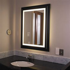 House Ideas Lighted Bathroom Mirror With Vanity