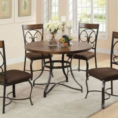 5 pc Jassi collection dark cherry finish wood and antique black metal frame round dining table set. This set includes the table and 4 side chairs . Side chairs measure H to the back. Some assembly required. Decor, Furniture, Dining Table Setting, Dining Table, Dining Room Decor, Side Chairs Dining, Round Dining Table Sets, Metal Dining Table, Acme Furniture