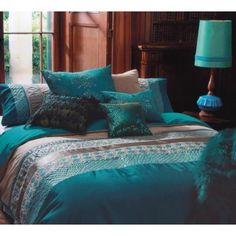 Kas Australia Double Bed Zephyr Quilt Cover Set - Teal main product photo [pillow: 'found' or cloth/synthetic feather version] Teal Bedding Sets, Teal Comforter, Comforter Sets, Turquoise Bedding, Dream Bedroom, Home Bedroom, Master Bedroom, Bedroom Decor, Bedroom Brown