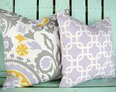 "New 18"" X 18""  corn yellow, white, gray, lilac Suzani premier prints designer fabric- decorative pillow cover-throw pillow-accent pillow. $24.95, via Etsy."