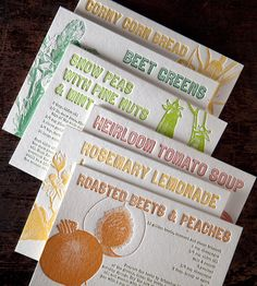 Farmers Market Recipes Greeting Card Set - Pack of 6 by Bison Bookbinding & Letterpress. Each of these farmers market recipe cards features an original recipe alongside a vintage-style veggie illustration.