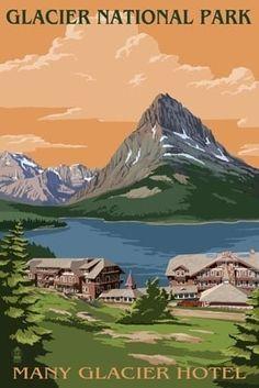 Many Glacier Hotel - Glacier National Park, Montana - Lantern Press Poster