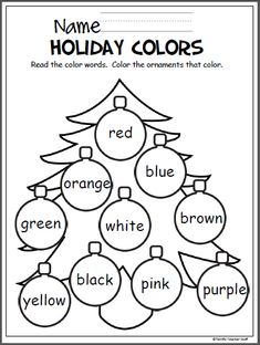 holiday art Free Christmas coloring activity to help Pre-K and Kindergarten students learn the colors. Color Worksheets For Preschool, Preschool Colors, Color Activities, Preschool Learning, Christmas Activities, In Kindergarten, Preschool Activities, Christmas Worksheets Kindergarten, English Kindergarten