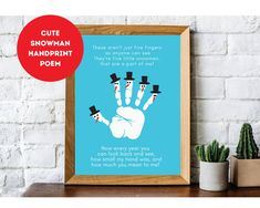 Snowman Handprint Poem, Winter Craft for Kids, Baby Kid Handprint Art, Winter, DIY at Home, Handprint Gift Printable, Digital Download