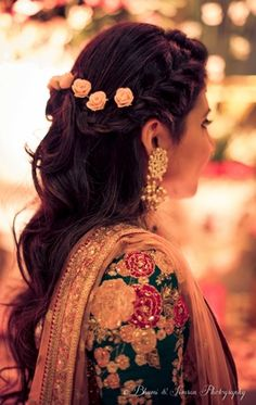 Wedding Ideas & Inspiration wedding engagement hairstyles 2019 wedding engagement hairstyles Half up half down hairstyle with roses , engagement hairstyle , side braid, flowers in hair wedding engagement hairstyles 2019 Indian Hairstyles For Saree, Saree Hairstyles, Open Hairstyles, Indian Wedding Hairstyles, Latest Hairstyles, Hairstyles Haircuts, Gorgeous Hairstyles, Indian Bridal Makeup, Bridal Hair And Makeup