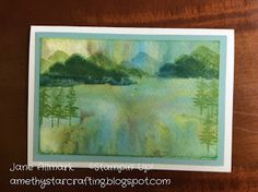 Stampin Up Waterfront and Brusho background, Stampin Up Waterfront, Brusho, how to Brusho background, water colour backgrounds, mountains scenes, how to cards, hand made, paper crafting, how to brusho, Jane Allmark UK Independent Stampin Up Demonstrator, Amethystarcrafting,