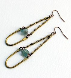 Kyanite Dangle Brass Earings by Poor Sparrow on Scoutmob Shoppe