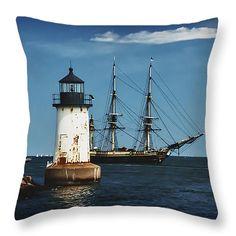"The friendship returns to Salem harbor Throw Pillow 14"" x 14"""