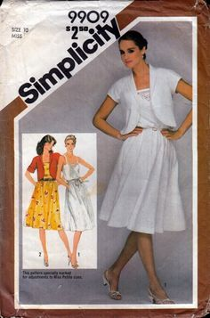 Simplicity 9909 Missses' pullover sundress and unlined bolero jacket...adjustable for miss petite. $5 #vintage #1980s #sundress #sewing #pattern  Dress has bodice with back elastic casing, front band, shoulder straps, flared skirt stitched to bo