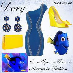Disney Style: Dory, created by trulygirlygirl Princess Inspired Outfits, Disney Themed Outfits, Disney Inspired Fashion, Disney Bound Outfits, Princess Outfits, Disney Fashion, Women's Fashion, Fashion Dresses, Disney Dress Up