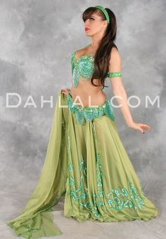 a944f0078c61 HARMONIOUS GREAT LOOP ENSEMBLE in Moss Green and Turquoise by Designer  Pharaonics of Egypt, Egyptian Belly Dance Costume - Dahlal Internationale  Store
