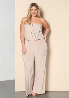 Plus Size Clothing | Plus Size Draped Strapless Wide Legged Jumpsuit | Debshops