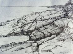 Fine Art Pen and Ink Drawing on Handmade Paper, Nearing the Edge by papermaker on Etsy