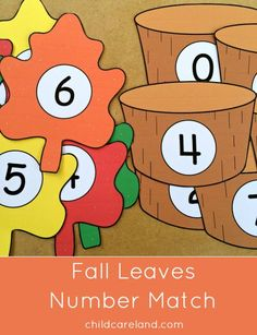 fall leaves number match for preschool and kindergarten Fall Preschool Activities, Early Learning Activities, Numbers Preschool, Preschool Math, Kindergarten Math, Preschool Fall Theme, Number Activities, Learning Numbers, Maths