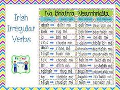 Na Briathra Neamhrialta - Irregular Irish Verbs Irish Gaelic Language, 5th Class, Irregular Verbs, Parts Of Speech, Ireland Travel, Northern Ireland, Teaching Resources, Education, Learning