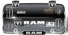Ram, Chrome/Black License Plate Frame