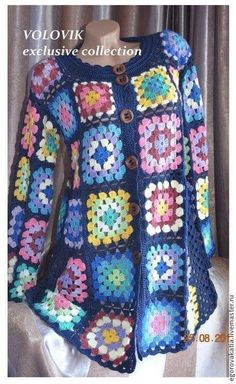 This Pin was discovered by Fát Crochet Bolero, Crochet Jacket Pattern, Crochet Coat, Crochet Blouse, Crochet Clothes, Crochet Patterns, Granny Square Sweater, Coat Patterns, Crochet Squares