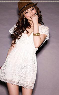 Sexy Plunging Neckline Elastic Waist Short Sleeve Mini Lace Dress For Women (WHITE,ONE SIZE) | Sammydress.com