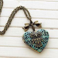 Owl Locket .. verdigris owl locket heart locket by beadishdelight