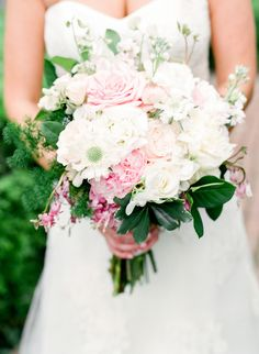 Girly pink + white summer bouquet: Photography : Mary Dougherty Photography Read More on SMP: http://www.stylemepretty.com/pennsylvania-weddings/philadelphia/2016/06/28/see-why-this-wedding-wins-the-award-for-most-unique-venue-ever/