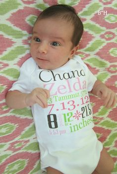 Birth Announcement Onsie - love the hebrew date!
