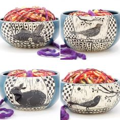 Hey knitters, this is cool! Handmade stoneware yarn bowls, each one unique with hand-etched design by Patricia Griffin in Cambria, Ca. She'll ship free to USA when she's having one of her online events. Check it out at PatriciaGriffinCeramics.com
