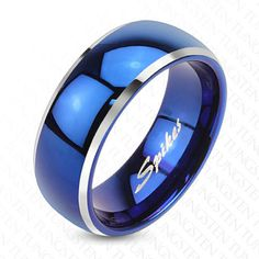 Tungsten Men's Blue Domed with Beveled Silver Edges Band Ring Size 5-13