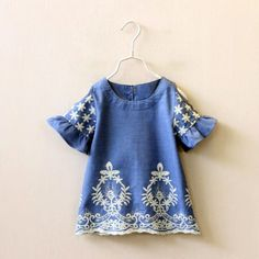 Denim Toddler & Girl Embroidered Open Shoulder Dress