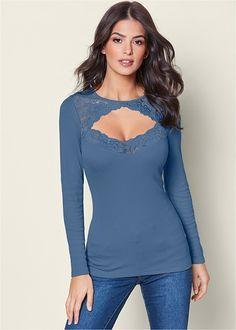 d60a620dd9 Venus Women s Lace Detail Long Sleeve Tops - Blue