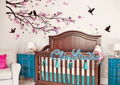 Cherry blossom tree wall decal for living room-Vinyl wall decal wall decals nursery wall stickers flowers wall decal home decor