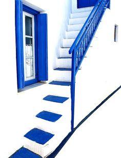 Blue on white.