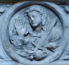 Sepulcro de Gonzalo Díez de Lerma en la catedral de Burgos. Medallón de la Justicia.