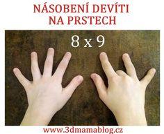 Chcete zajímavých způsobem se školákem procvičit násobení devíti? Pak určitě doporučuju násobilku na dlaních. Jak na to? Položte si ruce na stůl, a od levého malíčku si označte jednotlivé prsty číslem. Prst, který je označen číslem, kterým chcete 9 násobit, schovejte. Je to tzkv. hranice. Vlevo – počet prstů označuje desítky, vpravo značí jednotky. 9… Writing, Posts, Messages, Being A Writer