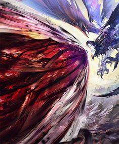 Dark Fantasy Art, Anime Fantasy, Fantasy Artwork, Monster Hunter Art, Monster Art, Legendary Dragons, Fantasy Beasts, Dragon Artwork, Weapon Concept Art