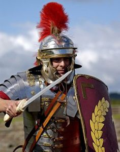 """Roman centurion""  But the helmet plume looks wrong for a centurion"