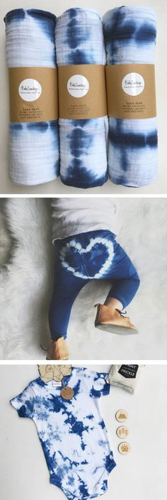 Love these indigo shibori and tie dyed babywear - Heart Breaker Baby and Toddler Leggings - Indigo Blue (HAND DYED)