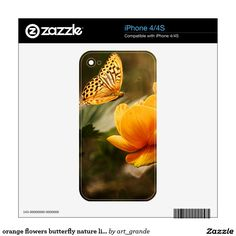 orange flowers butterfly nature life skin for iPhone 4