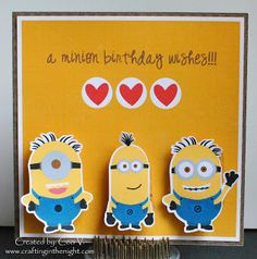 Crafting in the Night: Minion Birthday Card - Action Wobbles www.craftinginthenight.com #PPPR, #prettypapergraphics