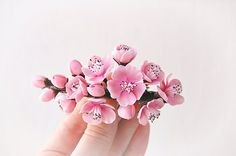 Pink Flower Cherry blossom Fascinator - Wedding Clay flowers -Floral hair accessories -Wedding cherry blossoms