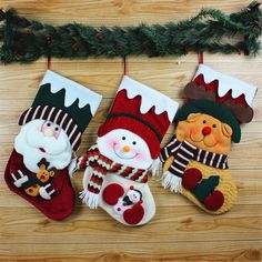 "STAJOY Christmas Stockings Christmas Tree Ornament,3 Pcs Set 18"" Santa Claus Snowman Elk Candy Hanging Socks for Xmas Decoration"