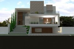 When you choose modern house plans as the basis for the design of your home, you veer off from the overt use of traditional styles that seem to be promi… House Front Design, Modern House Design, Duplex Design, House Elevation, Modern House Plans, Facade House, Exterior Design, Modern Architecture, Building A House
