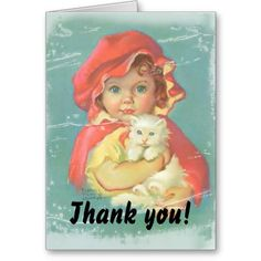Girl and Cat Thank you card