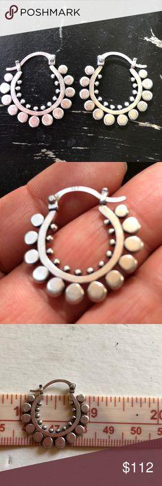 Sterling Silver Boho Dot Hoops Earrings Beautiful, stamped 925. Jewelry Earrings #SterlingSilverBoho