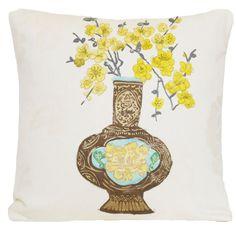 Yellow Flowers Designers Guild Cushion Cover Vase  Pillow Case Fabric Celadon