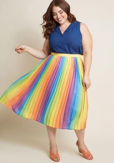 4d54c27f95e Beautifully Upbeat Pleated Midi Skirt in Rainbow This rainbow midi skirt  from our ModCloth namesake label
