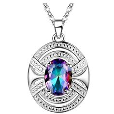 Oval Rainbow MysticTopaz In Silver Plated Pendant Necklace   eBay