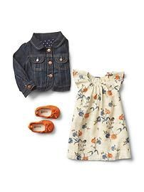 Denim jacket with floral dress and flats