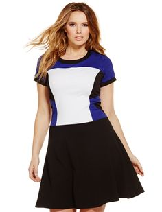 Colorblock Flutter Skirt Dress | Women's Plus Size Dresses | ELOQUII