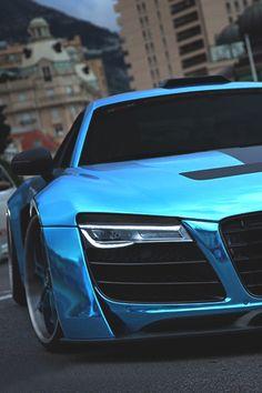 Audi R8 with blue chrome finish