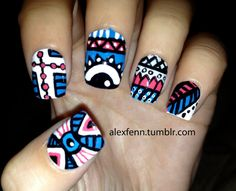 Blue and pink aztec eye nails by CompulsiveNails on Etsy, $22.00